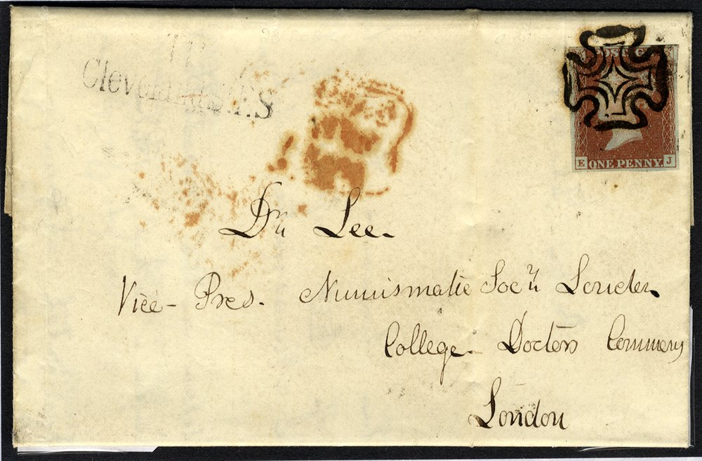 1841-53 cover Numismatic Soc, London, franked Pl.9 EJ, bold strike of the black Maltese Cross, smudged London despatch d/stamp