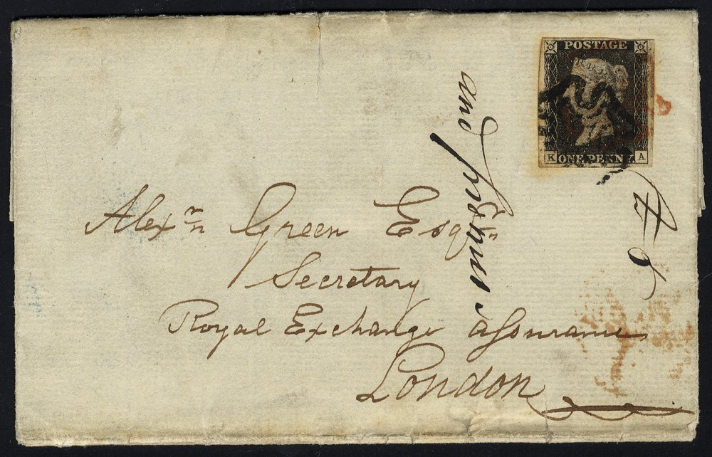 1841 cover from Otley to London, Pl.2 KA, red & black Maltese Crosses, peripheral faults. RARE.