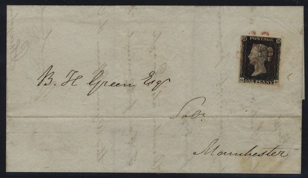 1840 cover from Preston to Manchester, Pl.1b OD, magenta Maltese Cross of Preston. RARE.