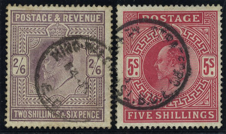 1902 DLR 2/6d lilac & 5s bright carmine, VFU c.d.s examples, SG.260 & 263.