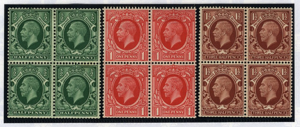 1934 Photogravure Intermediate Format WMK INVERTED fine M BLOCKS OF FOUR