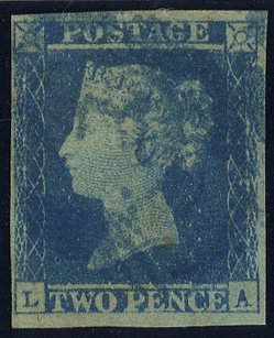 1841 2d blue Plate 4 L-A with BLUE 1844 Type numeral cancel, SG.14
