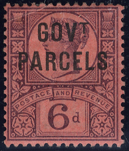 GOVT PARCELS 1887 Jubilee 6d purple/rose red, variety dot to right of 'T'