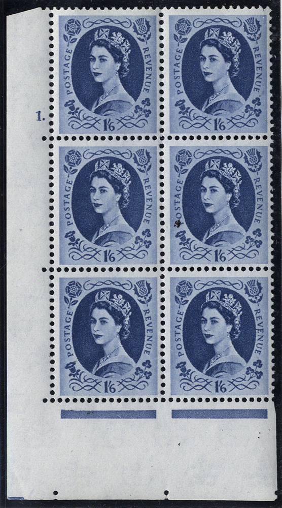 WILDING LOW VALUES - 1962 Crowns (white paper) 1/6d, Cylinder 1 Dot block of six with variety