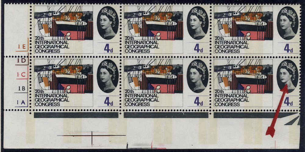 1964 Geographical 4d, Cylinder No Dot block of six with varieties