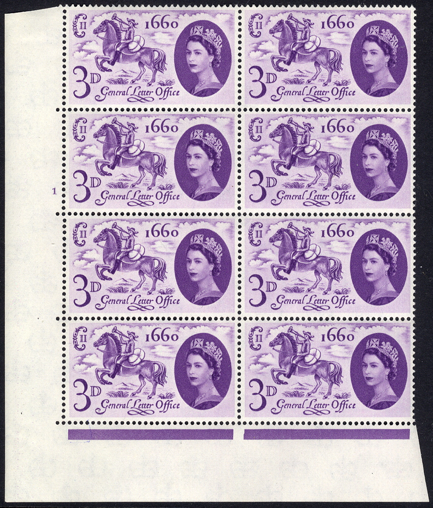1960 G.L.O 3d deep lilac, broken mane variety, UM Cylinder block of eight