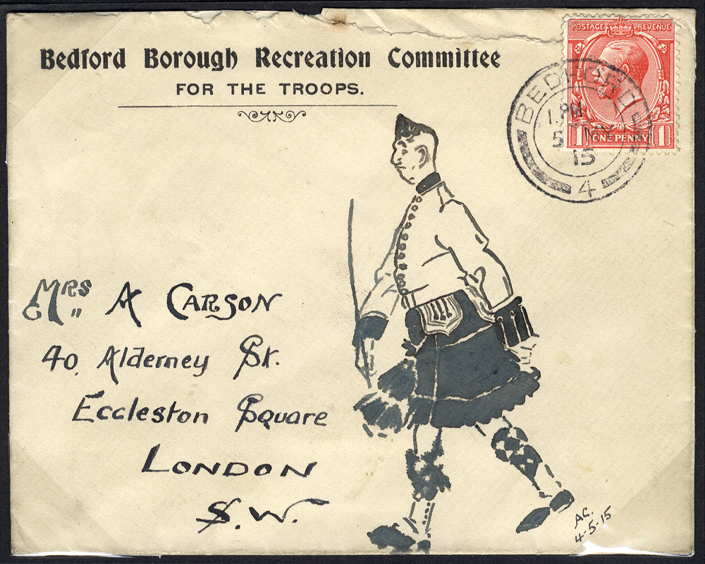 1915 Bedford Borough Recreation Committee for the Troops, illustrated envelope to London - Scottish soldier