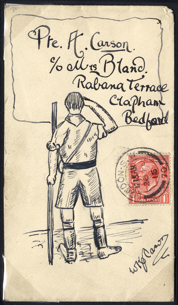 1915 illustrated envelope from London to Bedford, boy scout, KGV 1d, London double ring c.d.s.