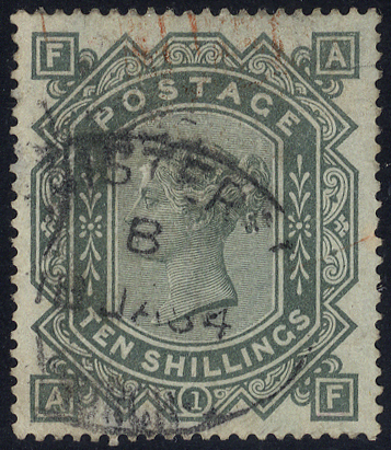 1867-83 Wmk Anchor 10s greenish grey, oval registered date stamp, scarce high value, SG.135