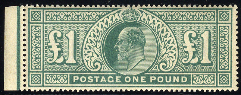1902 DLR £1 dull blue-green, left side marginal UM SG.266