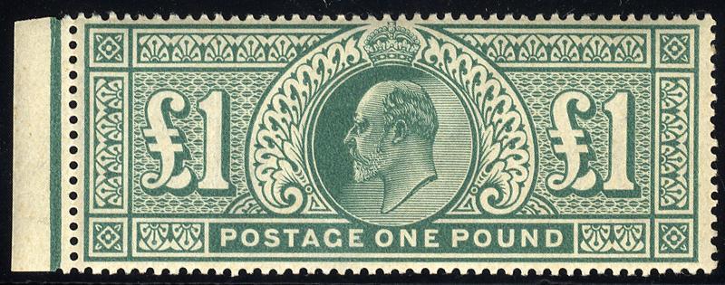 1902 DLR £1 dull blue-green, left side marginal UM SG.266