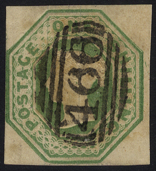 1847 1s pale green, barred oval numeral '466' for Liverpool, SG.54