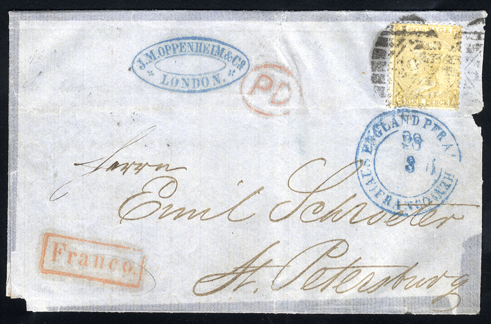 1868 cover London to St. Petersburg, 9d straw 'Emblems,' London barred oval cancel, 'England Per Aachen' double ring in blue