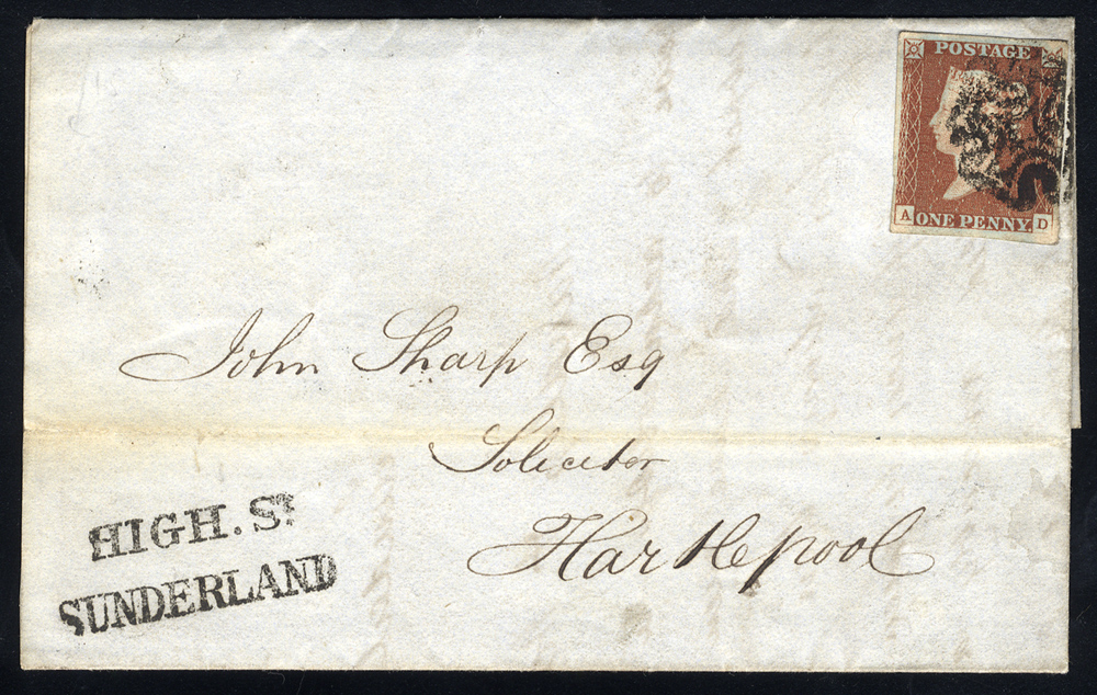1843 cover Sunderland to Hartlepool, 1d red, four margins, black Maltese Cross