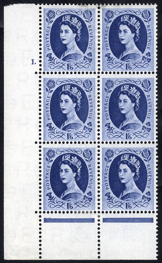 1956 Edward Crown 1/6d Wilding Cylinder 1 Dot block of six M, with two varieties