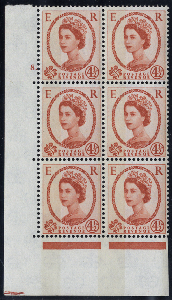 1963 Blue phosphor/white paper 4½d chestnut, typo bands, UM Cylinder 8 Dot block of six. RARE. SG.616b var.