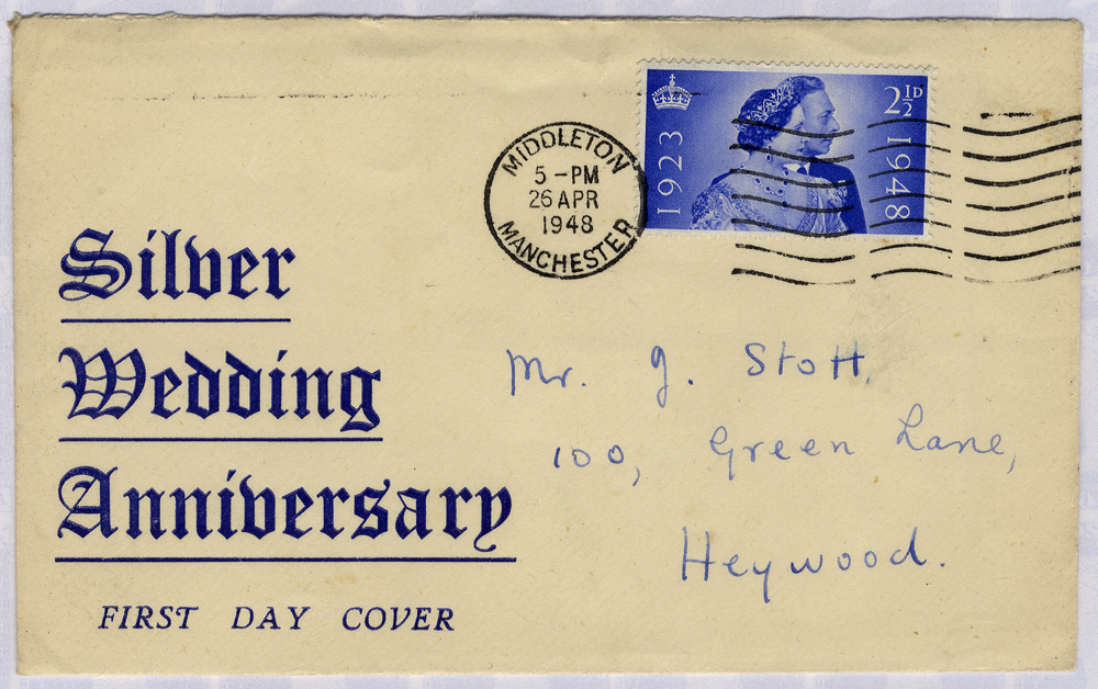 1948 Silver Wedding 2½d display First Day Cover from Manchester to Heywood