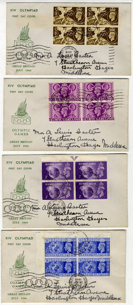 1948 Olympic Games Wembley, London - blocks of four on illustrated First Day Covers x4