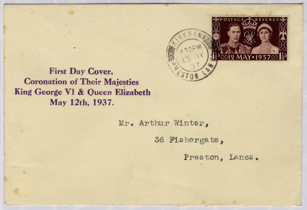 1937 Coronation display First Day Cover to Preston, Lancashire