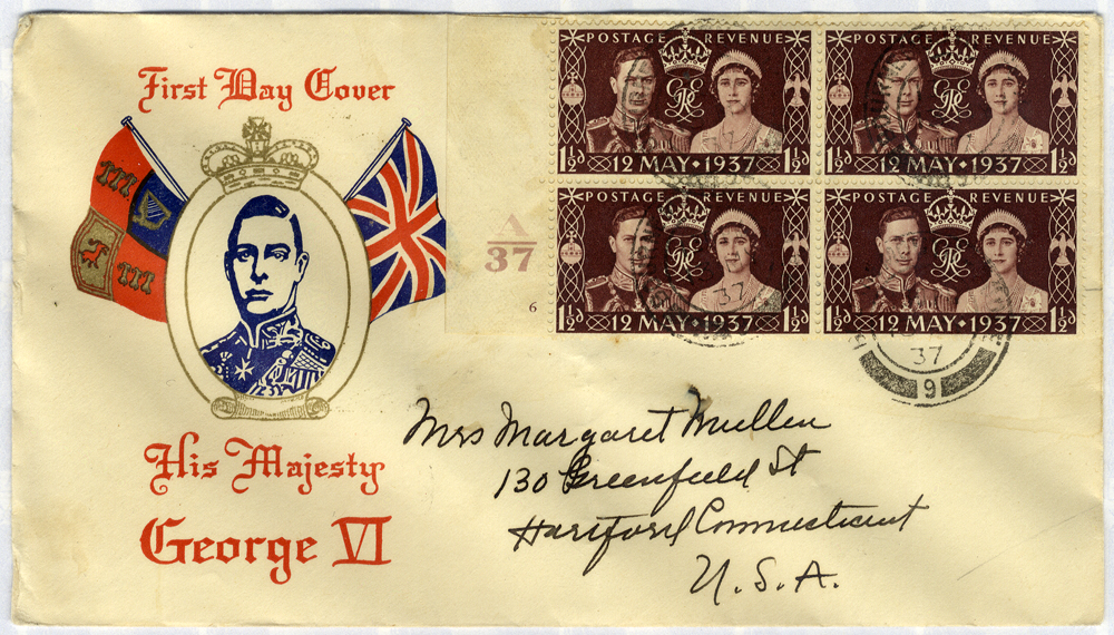 1937 Coronation illustrated First Day Cover to Connecticut, USA