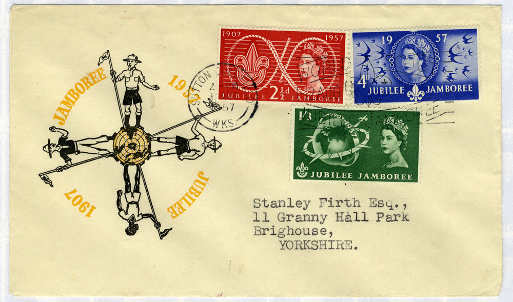 1957 Scouts illustrated First Day Cover to Yorkshire - Sutton Coldfield pictorial postmark Jubilee Jamboree slogan
