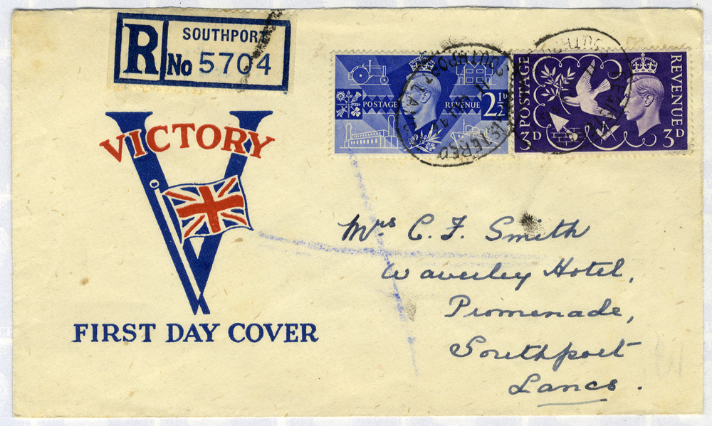 1946 Victory illustrated First Day Cover (opened at top) to Southport, Lancashire