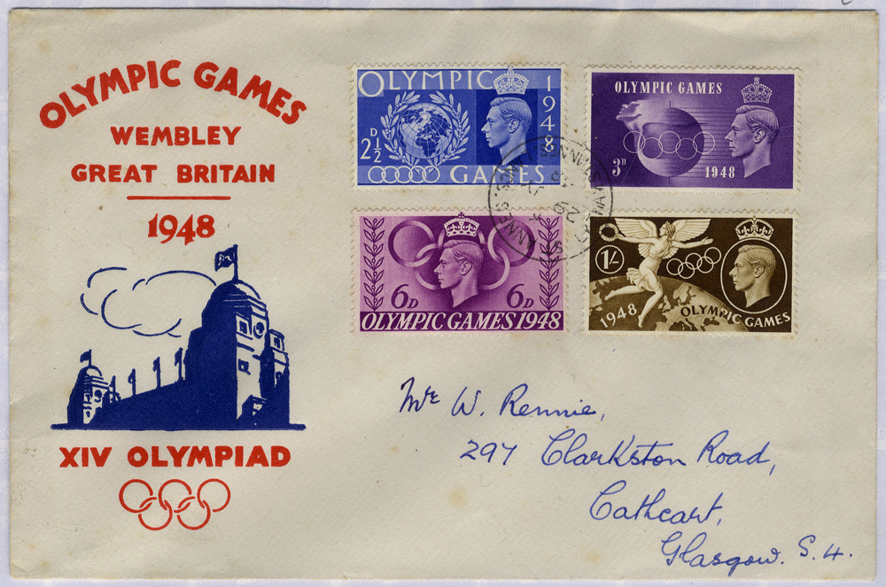 1948 Olympic Games, Wembley illustrated First Day Cover to Glasgow