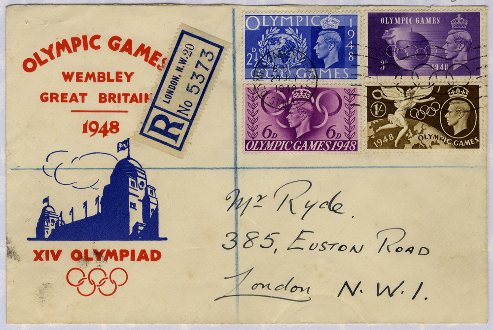 1948 Olympics Games, Wembley illustrated First Day Cover (opened at top) to London, registered Olympic slogan