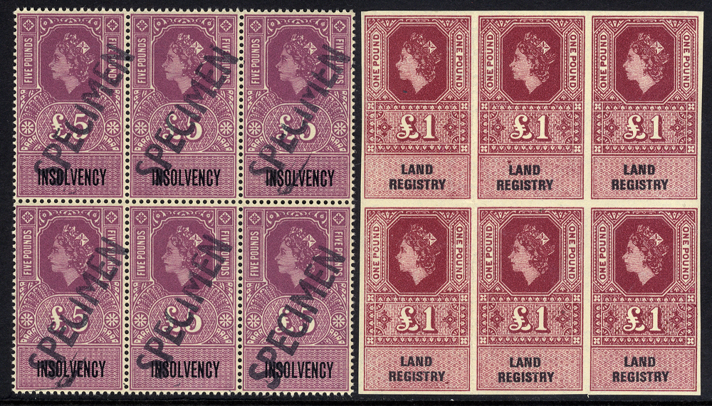 1971 Insolvency £5 UM block of six, optd SPECIMEN & 1971 Land Registry £1 UM Imperforate block of six