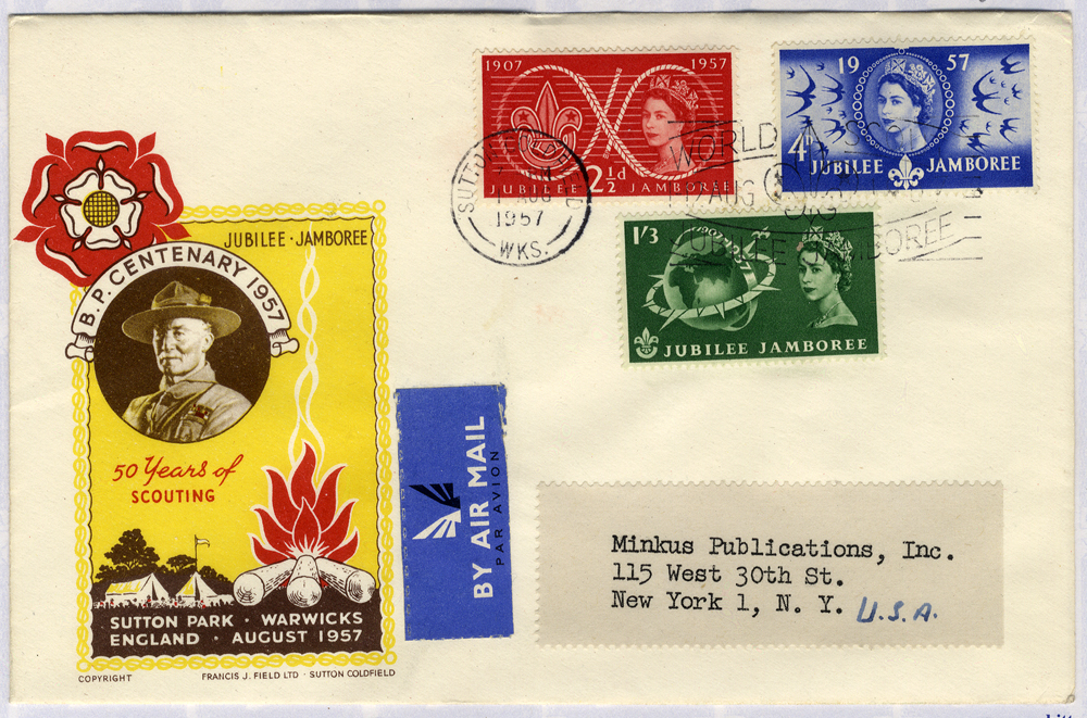 1957 50 Years of Scouting illustrated FDC to New York - Sutton Coldfield pictorial postmark Jubilee Jamboree slogan