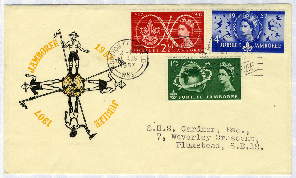 1957 Scouts illustrated FDC to Plumstead - Sutton Coldfield pictorial postmark Jubilee Jamboree slogan
