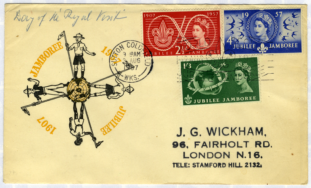 1957 Scouts illustrated FDC to London - Sutton Coldfield pictorial postmark Jubilee Jamboree slogan