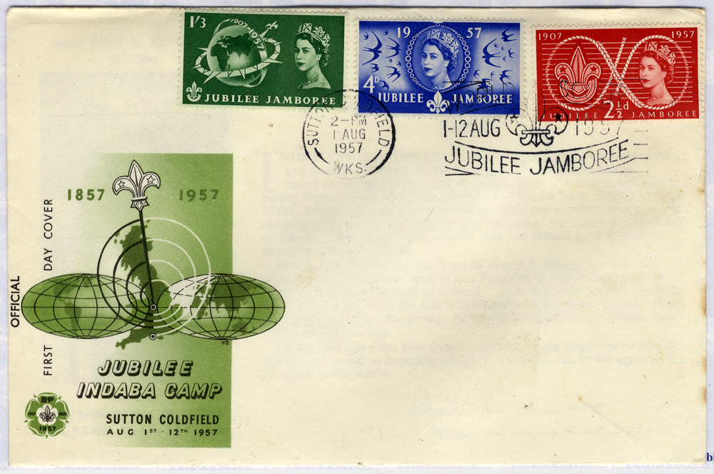 1957 Scouts JUBILEE INDABA CAMP illustrated FDC - Sutton Coldfield pictorial postmark Jubilee Jamboree slogan