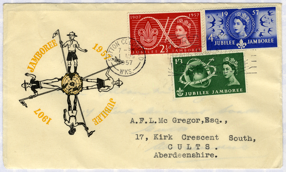 1957 Scouts illustrated FDC to Aberdeenshire - Sutton Coldfield pictorial postmark Jubilee Jamboree slogan
