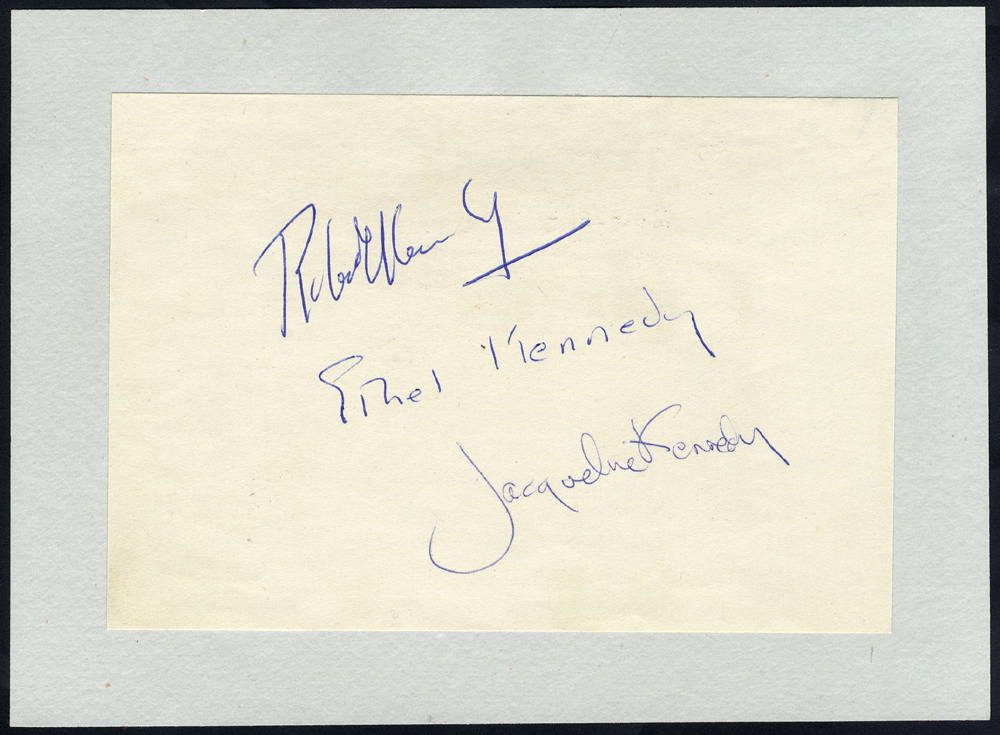 KENNEDY, JACQUELINE (Wife of US President J.F. Kennedy) also Robert Kennedy & Ethel Kennedy on one sheet of paper