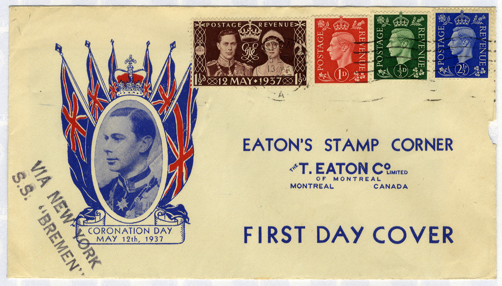 1937 Coronation illustrated First Day Cover carried 'VIA NEW YORK S.S BREMEN' (slight fault)