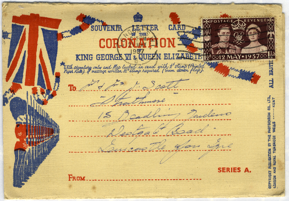 1937 Coronation Souvenir Letter Card used on the first day of issue (six drop down postcard sized views)