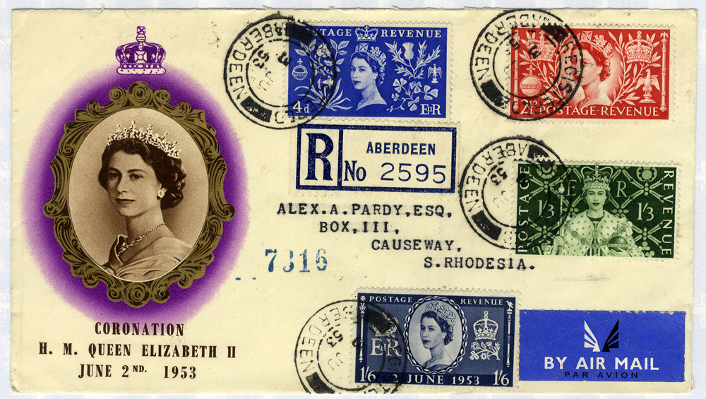 1953 Coronation illustrated registered Airmail First Day Cover to S. Rhodesia (opened at top)