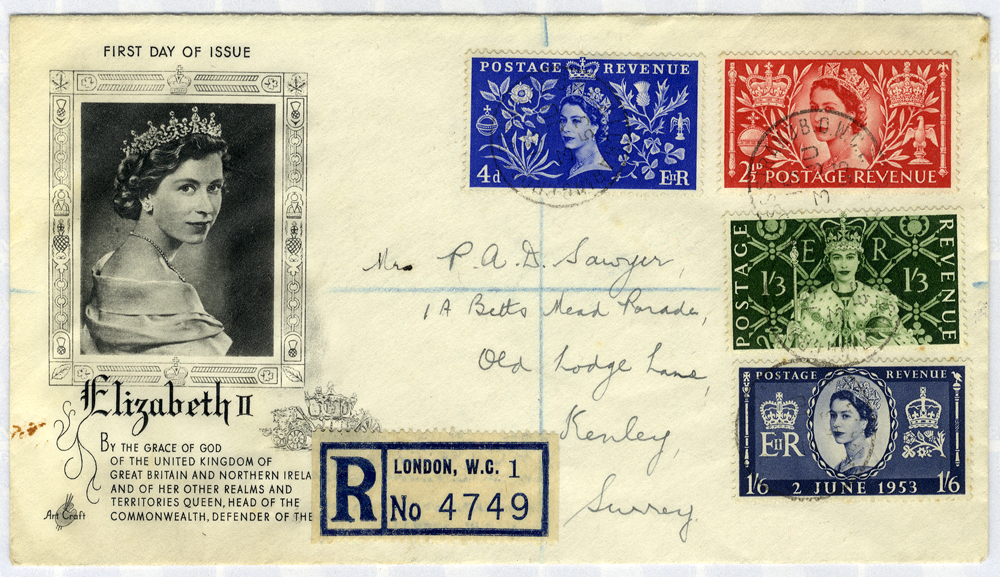1953 Coronation illustrated registered First Day Cover to Surrey (opened at top)