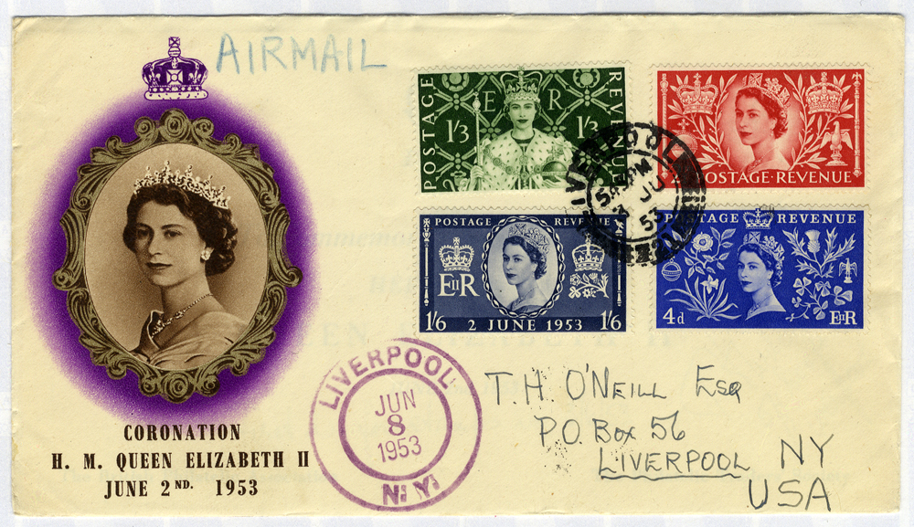 1953 Coronation illustrated Airmail First Day Cover to New York, USA (opened at top)