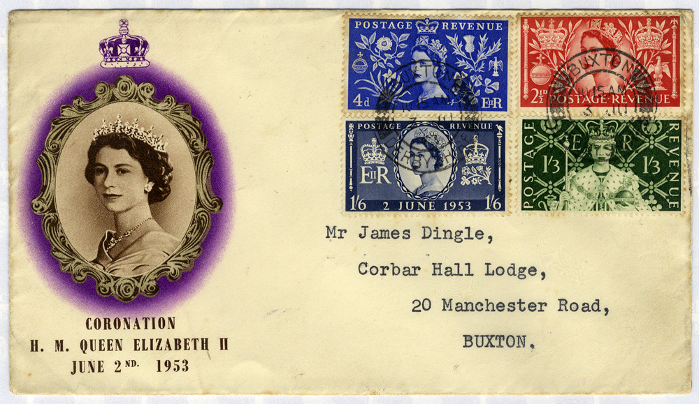 1953 Coronation illustrated First Day Cover to Buxton, slightly grubby appearance