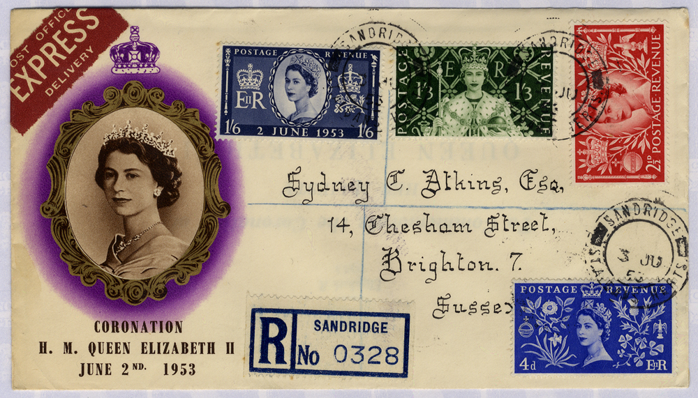 1953 Coronation illustrated registered express First Day Cover to Sussex