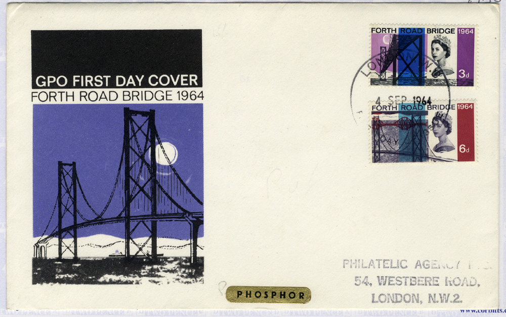 1964 Forth Road Bridge illustrated (phosphor) First Day Cover to London
