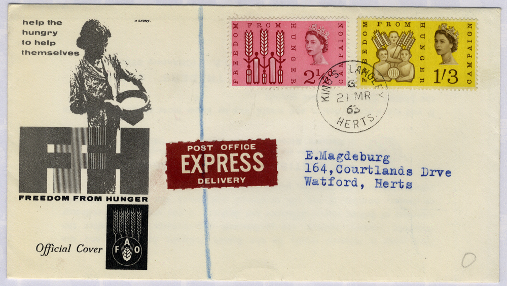 1963 Freedom from Hunger illustrated Express Delivery First Day Cover to Watford