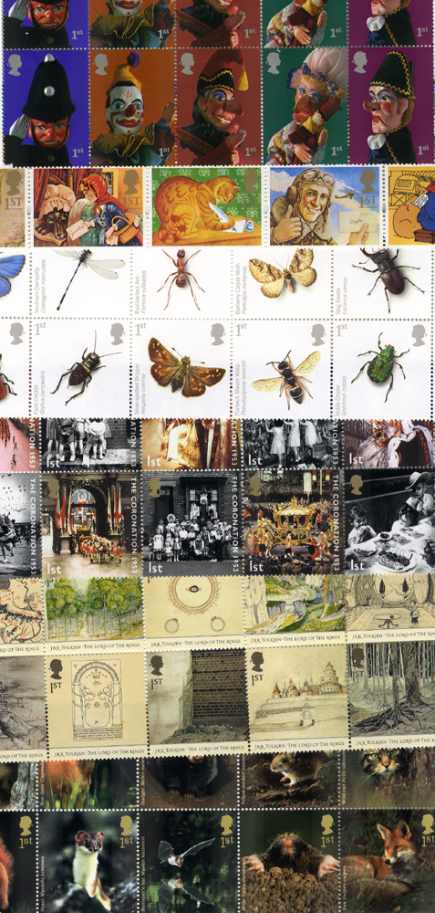 GB 1st Class stamps x 100 - mostly in strips or blocks (commemoratives or greetings). Perfect MINT condition. Face value £64
