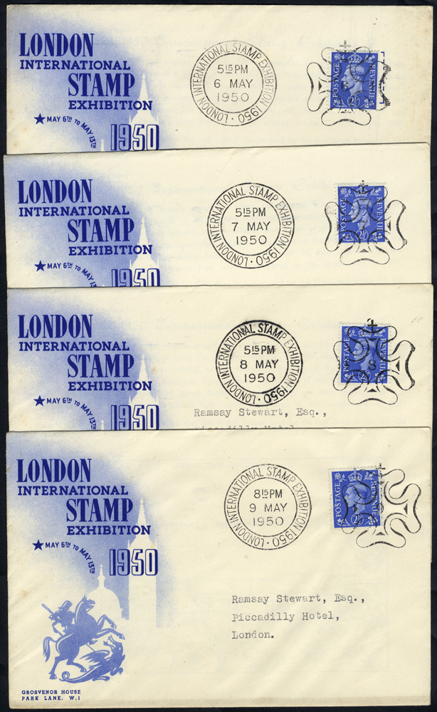 1950 London International Stamp Exhibition set of 8 covers, used with special numbers in Maltese Cross