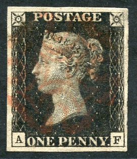 1840 1d black Pl.8 AF, four good to large margins, fine red Maltese Cross.