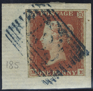 1841 Penny red ME, clear to large margins, tied to piece by Invergordon numeral '185' in blue