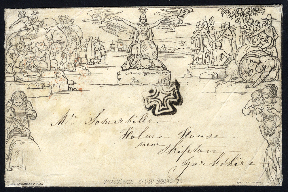 1841 March 24th One Penny Envelope Stereo A174, to Skipton, cancelled by distinctive Manchester Maltese Cross