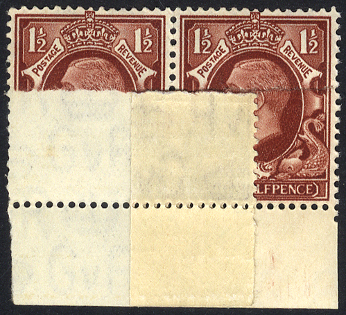 1934 Photogravure 1½d red brown - large format fine M lower marginal pair printed on double paper (variety) SPECTACULAR